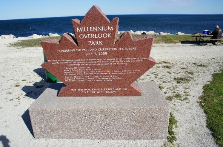 Canada Ontario Photos :: Collingwood :: Millennium Overlook Park honoring the past and celebrating the future July 2000
