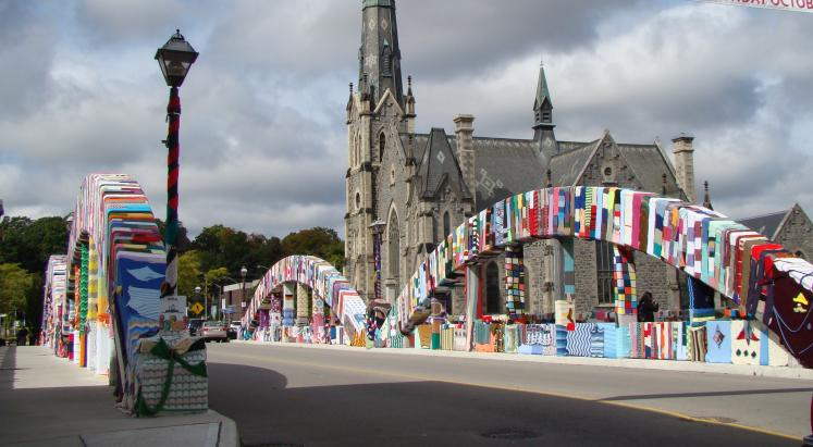 Canada Ontario Photos :: Cambridge :: Cambridge Knitted Bridge with Knox Galt Presbyterian Church