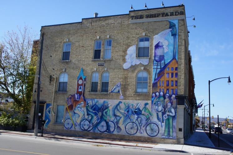 Canada Ontario Photos :: Collingwood :: Mural on side of building done by John and Alexanadra Hood corner of Huron and St.Paul Collingwood