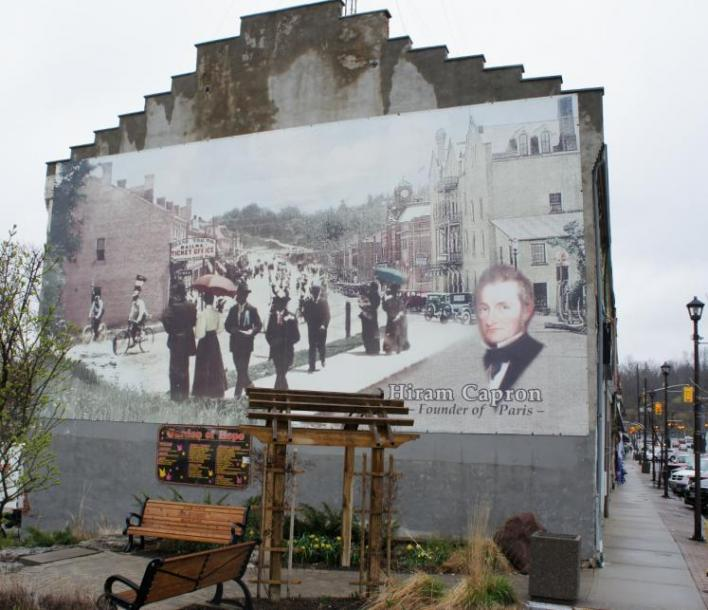 Canada Ontario Photos :: Misc :: Paris. Mural on side of store of Hiram Capron Founder of Paris